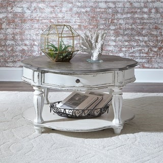 Magnolia Manor Antique White Castered Round Cocktail Table