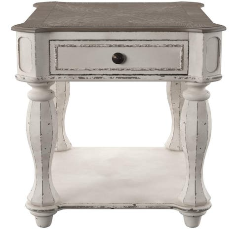 Magnolia Manor Antique White End Table