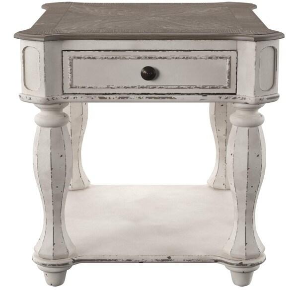 Shop Magnolia Manor Antique White End Table On Sale