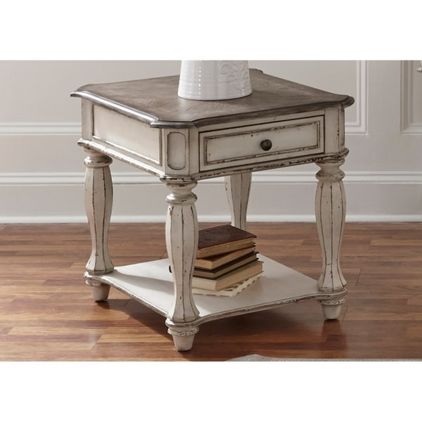 Shop Magnolia Manor Antique White End Table On Sale Free