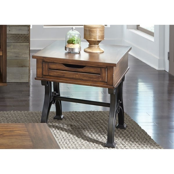 Arlington House Cobblestone Brown Drawer End Table
