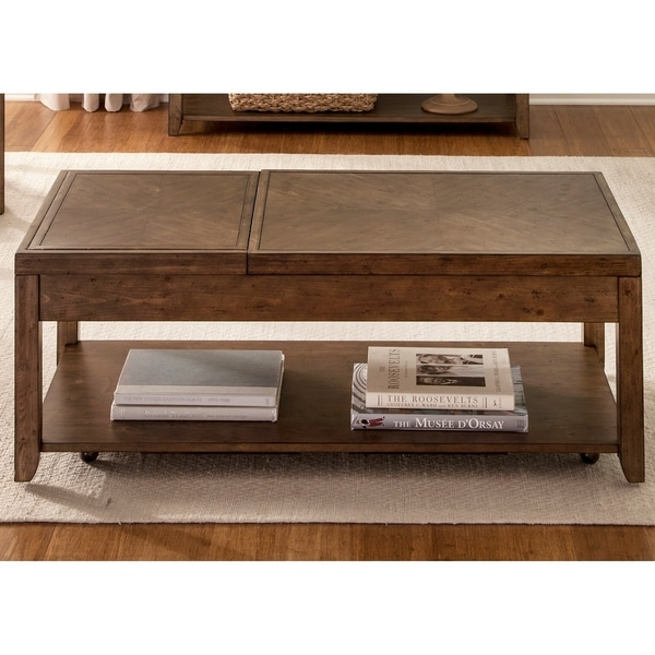 Shop Mitchell Nutmeg Castered Lift Top Cocktail Table On Sale