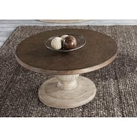 Alamosa Weathered Light Grey and Copper Round Cocktail Table