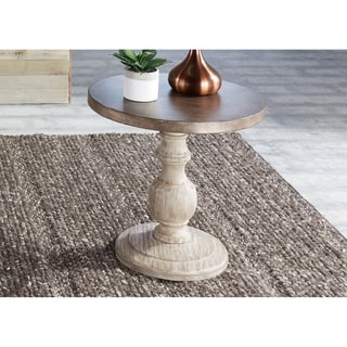 Alamosa Weathered Light Grey and Copper Round End Table