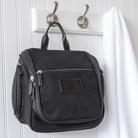 Personalized Mens Waxed Canvas and Leather Hanging Toiletry Bag