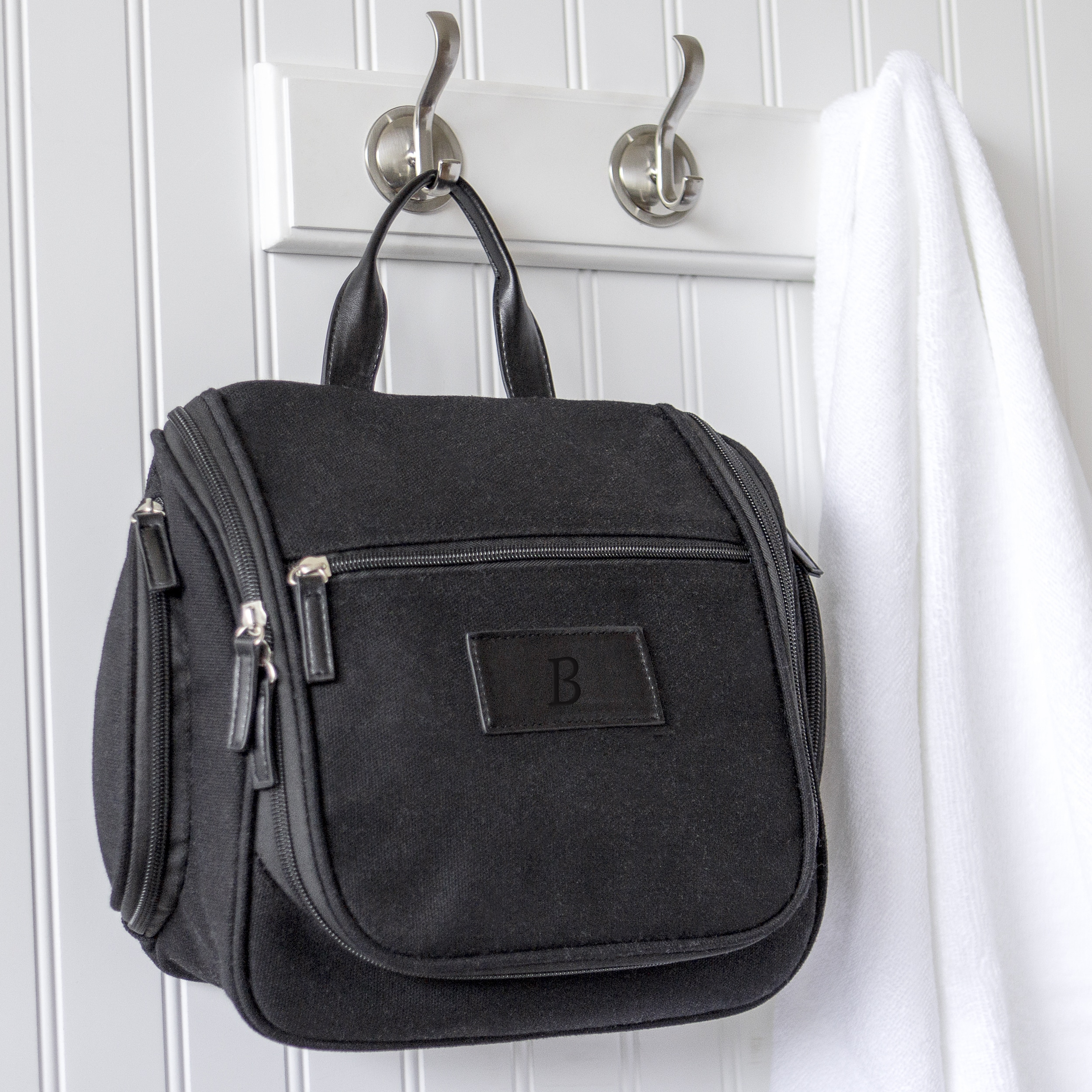 Personalized Men S Waxed Canvas And Leather Hanging Toiletry Bag
