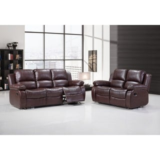 Hodedah Black Bonded-leather Sofa and Loveseat Recliner 2-piece Set