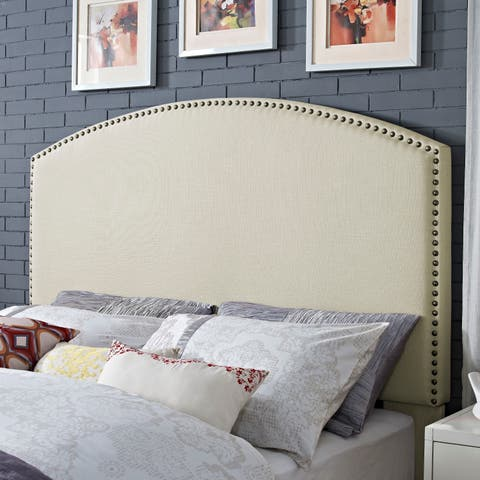 Crosley Furniture Cassie Curved Upholstered Creme Linen King/California King Headboard