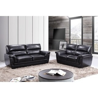 Hodedah Brown Faux Leather 2-piece Sofa and Loveseat Set