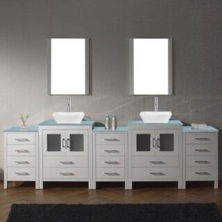 Virtu USA Dior 110-inch Tempered Glass Double Bathroom Vanity Set with Faucet Options