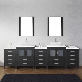 Virtu USA Dior 110-inch White Stone Double Bathroom Vanity Set with Faucet Options