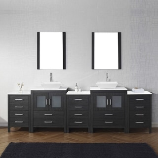 Virtu USA Dior 110 Inch White Stone Double Bathroom Vanity Set With Faucet  Options