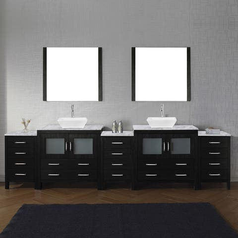 Dior 118-in Carrara White Marble Double Vanity