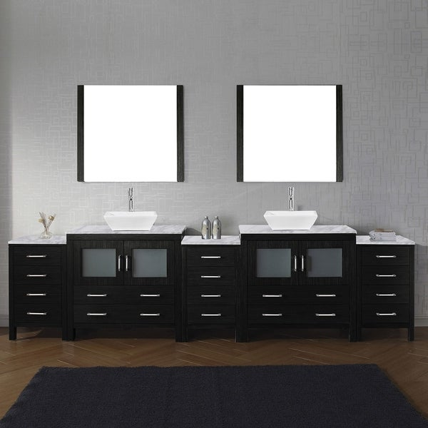 Virtu USA Dior White Carrara Marble 118 Inch Double Bathroom Vanity Set  With Faucet Options