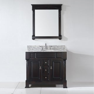 Virtu USA Huntshire 40-inch Carrara White Marble Single Bathroom Vanity Set