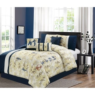 Feng-shui embroidery 7 piece comforter set
