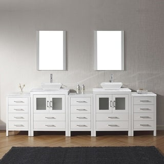 Virtu USA Dior 110-inch Carrara White Marble Double Bathroom Vanity Set with Faucet Options