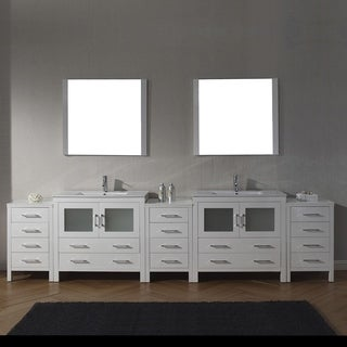 Virtu USA Dior 118-inch White Stone Double Bathroom Vanity Set with Faucet Options