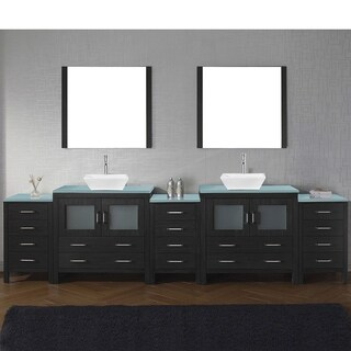 Virtu USA Dior 126-inch Tempered Glass Double Bathroom Vanity Set with Faucet Options