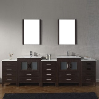 Virtu USA Dior 110-inch Ceramic Double Bathroom Vanity Set with Faucet Options