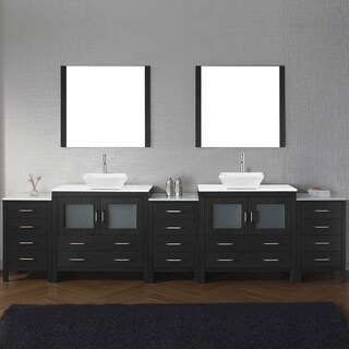 Virtu USA Dior 126-inch White Stone Double Bathroom Vanity Set with Faucet Options