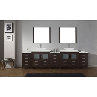 Virtu USA Dior Carrara White Marble 126-inch Double Bathroom Vanity Set with Faucet Options