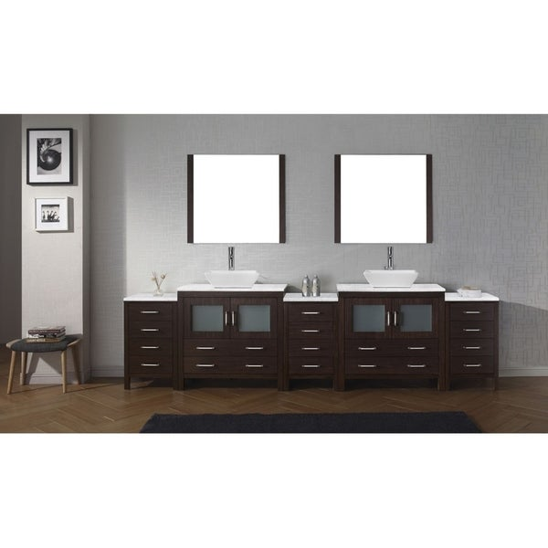 Virtu USA Dior 126-inch Carrara White Marble Double Bathroom Vanity Set with Faucet Options