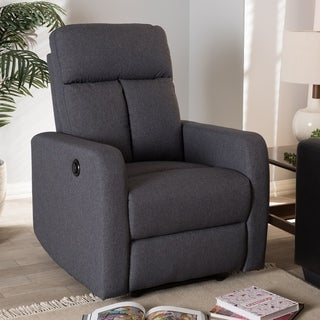 Contemporary Fabric Power Recliner Armchair by Baxton Studio