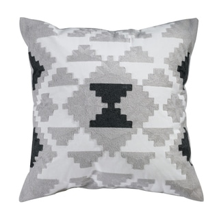 Riley Embroidered Cotton Throw Pillow