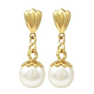 Luxiro Gold Finish White Faux Pearl Dangle Earrings