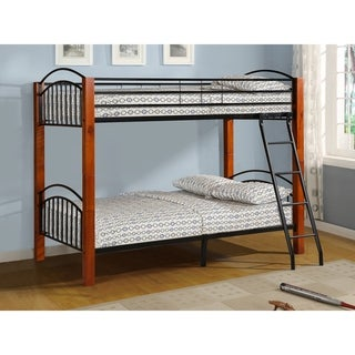 Metal and Wood Bunk Bed in Cherry Finish