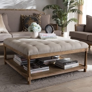 French Country Beige Linen Square Ottoman by Baxton Studio