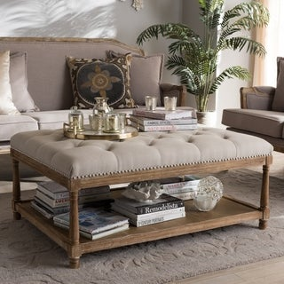 French Country Beige Linen Rectangular Ottoman by Baxton Studio