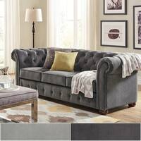 Knightsbridge Velvet Tufted Scroll Arm Chesterfield Seating Collection by iNSPIRE Q Artisan