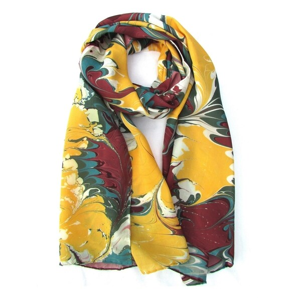 Watermarbling Hand Dyed Palm Silk Scarf. Opens flyout.
