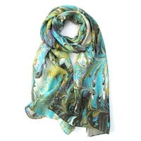 Watermarbling Hand Dyed Reef Silk Scarf