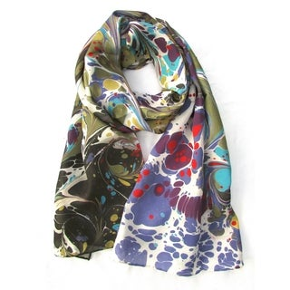 Watermarbling Hand Dyed Cosmo Silk Scarf