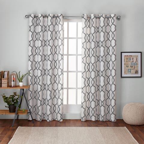 "ATI Home Kochi Linen Blend Grommet-top Curtain Panel Pair 96"" in Indigo (As Is Item)"