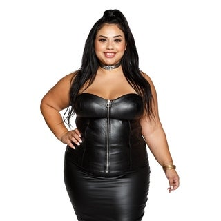 Xehar Womens Plus Size Sexy Faux Leather Sweetheart Tube Top
