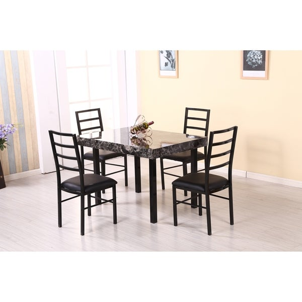 Hodedah 5 Piece Marble Look Dining Set