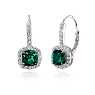 925 Silver Cushion-cut Created Emerald & White Topaz Dangle Earrings