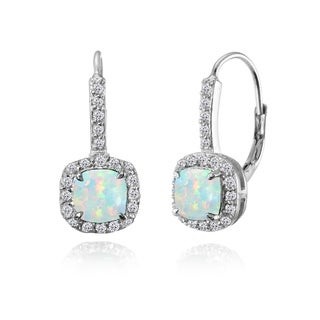 Glitzy Rocks Sterling Silver Created White Opal & White Topaz Cushion-cut Leverback Earrings