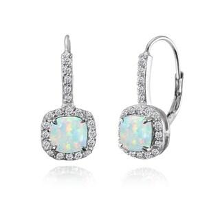 Glitzy Rocks Sterling Silver Created White Opal & White Topaz Cushion-cut Leverback Earrings