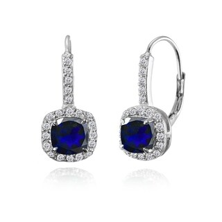 Glitzy Rocks Sterling Silver Created Blue Sapphire & White Topaz Cushion-cut Leverback Earrings