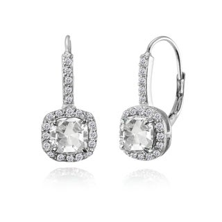Glitzy Rocks Sterling Silver Created White Sapphire & White Topaz Cushion-cut Leverback Earrings