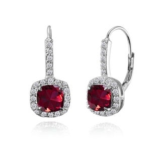 Glitzy Rocks Sterling Silver Created Ruby & White Topaz Cushion-cut Leverback Earrings