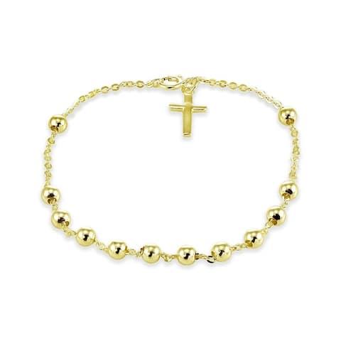 Mondevio Sterling Silver Bead Station Cross Chain Bracelet
