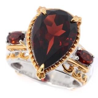 Michael Valitutti Palladium Silver Mozambique Garnet Pear Shaped Ring - Red