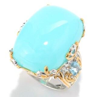 Michael Valitutti Palladium Silver Peruvian Opal & Swiss Blue Topaz Cocktail Ring
