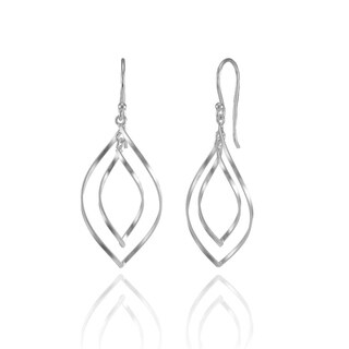 Mondevio Sterling Silver Swirl Marquise-cut Lightweight Dangle Drop Earrings